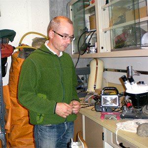 J.B. Caron with fossil preparation equipment